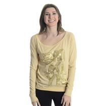 NEW Chaser Baroque Brooklyn Vintage Jersey Raglan Top Muslin/Tan Gold Foil Print