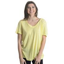 NWT Sz L Nation LTD By Jen Menchau Banana Yellow Jersey Knit V-Neck Tee Shirt