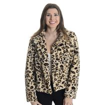 L Velvet by Graham & Spencer SUPER SOFT Faux Fur Collared Jacket Leopard Print