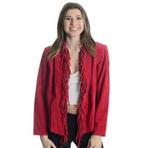 XS NWT Dialogue QVC RED Washable Suede Leather Fringe Western Jacket Hook & Eye