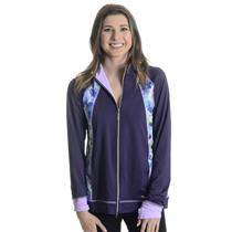 NWT L Sofibella Full Zip Long Sleeve Mock Collar Jacket W/ Purple Print Detail