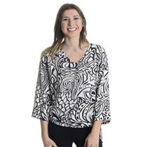 S NWT Margarita Black White Floral Swirl Pattern Tie Side 3/4 Sleeve Knit Blouse