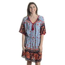 M Plenty by Tracy Reese Blue Red Silk Aztec Print Button Front Dress Tassel Tie