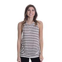 New 4 Nightcap Clothing White/Black Wide Stripe Side Knot Silk Jersey Knit Tank
