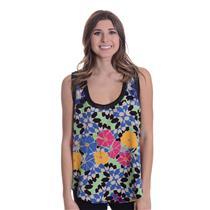NEW Sz L Weston Lily Multi-Color Floral Textured Tank w/ Crochet Detail Neckline