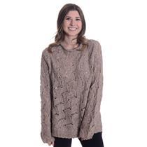 NWT L Inhabit Tweed Crew Neck Wool Blend Crochet Long Sleeve Open Knit Sweater