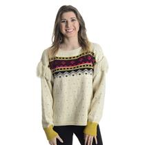 NWT M Closed Nordic Knit Print Crewneck Sweater w Shoulder Fringe Detail In Sand