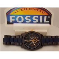 Fossil FS5164 Machine Chronograph Men's Watch w/ Black and Blue Bracelet