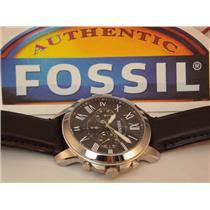 Fossil FS4812 Men's Chronograph Watch. Steel Case, Thick Genuine Leather Strap