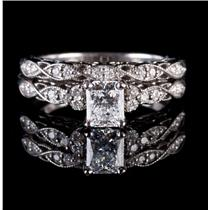 "14k White Gold GIA Cert ""D Color"" Diamond Engagement & Wedding Ring Set .96ctw"