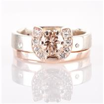 14k Rose / White Gold Morganite & Diamond Engagement Wedding Ring Set 1.11ctw