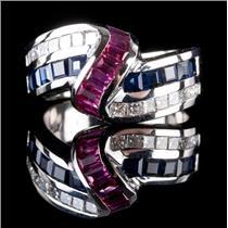 14k White Gold Baguette Cut Ruby Sapphire & Diamond Cocktail Ring 2.80ctw