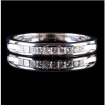 14k White Gold Princess Cut Diamond Channel Set Wedding / Anniversary Ring .3ctw