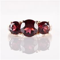 14k Yellow Gold Round Cut Mozambique Garnet Three-Stone Ring 4.55ctw