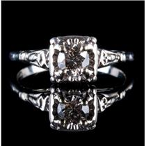 Vintage 1940's Platinum Transitional Round Cut Diamond Solitaire Engagement Ring