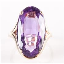 10k Yellow Gold Oval Cut Amethyst Solitaire Cocktail Ring 8.40ct