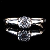 14k Yellow & White Gold Round Cut Diamond Solitaire Engagement Ring .25ct