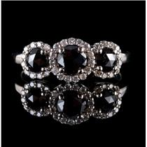 14k White Gold Rose Cut Black Diamond & Diamond Halo Cocktail Ring .955ctw