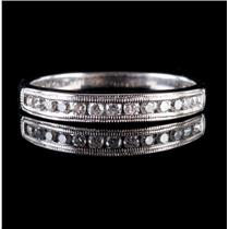 14k White Gold Round Cut Diamond Milgrain Anniversary / Wedding Band .23ctw