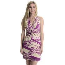 4 NWT Laundry by Shelli Segal Twist Front Cream/Purple Geo Dress Ring Beaded Hem
