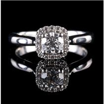 14k White Gold Round Cut Diamond Cushion Style Halo Engagement Ring .71ctw