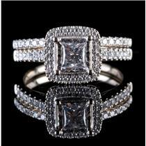 14k White Gold Square & Round Cut Diamond Halo Engagement & Wedding Set .81ctw