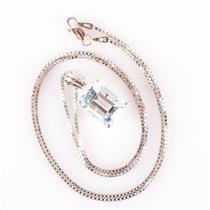 14k White Gold Emerald Cut Aquamarine & Diamond Solitaire Necklace 3.53ctw