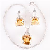 14k White Gold Citrine & Diamond Solitaire Necklace / Earring Set 14.6ctw