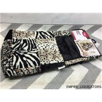 """Super Soft Better Homes and Gardens 50"""" x 60"""" Patchwork Faux Fur Throw w/ Tags"""