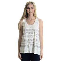 NWT S Karen By Karen Kane White Sleeveless Tank Top W/ Metallic Tribal Print
