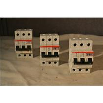 (LOT OF 3) ABB S253 C50 MINIATURE CIRCUIT BREAKER 400V, 3 POLE