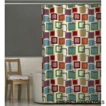"72"" X 70"" Maytex Squares Fabric Shower Curtain - MULTI COLOR - UNUSED"