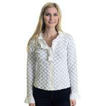 M NWT Cartise Circle Jacquard White/Black  Ruffle Collar Button Front Top/Jacket