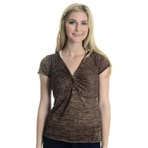 S Karen Kane Brown & Gold Metallic Threaded Cap Sleeve Twist Front V-neck Top