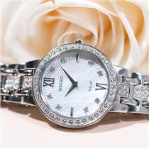 Seiko Watch SUP359 Ladies Solar. Elegant Steel w/Swarovski Crystals 25% Off MSRP