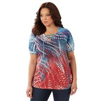 Catherines Size 0X Eclectic Elegance Polyester Embellished Top in Feather