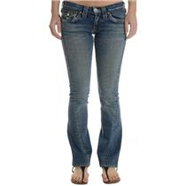 "Size 24 True Religion ""Joey"" Medium Wash Jeans w/Button Flap Back Pockets 10-503"