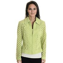 XS NWT Clara S Green Eyelet Zip Front Jacket Collar Long Sleeve Light Cotton