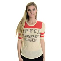 S Triumph Collection Lucky Brand Jeans SOFT Red/Ivory Crew Neck Baseball Style T