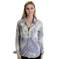 XS rag & bone Blue White Violet Tie Dye Button Down Shirt Front Pocket W1A23U001