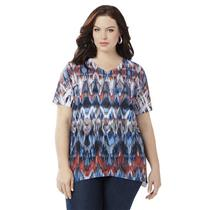 Catherines Size 1X Aztec Inspiration Polyester Embellished Top