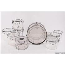 1970's LUDWIG Vistalite 9 Piece Clear Acrylic Drum Set W/ Beato Cases #27783