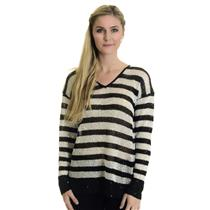 Sz L Karen Kane Bold Stripe Black & White Sequin V-Neck Dressy Thin Knit Sweater