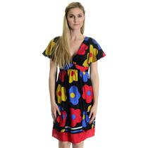 M NWT Voom Joy Han FIORI Flutter Sleeve Retro Flower Dress 100% Silk Authentic