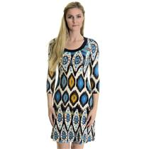 XS Karen Kane Multi Colored Crew Neck Printed Dress w/Elbow Length Sleeves SOFT