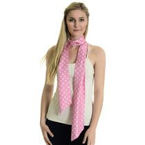 One Size Banana Republic Bright Pink 100% Silk Med Width Scarf White Polka Dots
