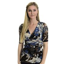 S Karen Kane Sheer Blue Brown Tan Floral Mesh Top Elbow Sleeve Empire Waist