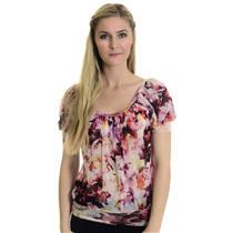 S Karen Kane Soft Mesh Pink Multi Color Floral Print Top Cap Sleeves USA MADE