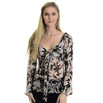 S Karen Kane Full Sleeve Pink Taupe Black Floral Print Scoop Neck Top Tie Front