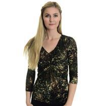 S Karen Kane Mesh Army Green Brown Tan V-Neck Gathered Top 3/4 Length Sleeves
